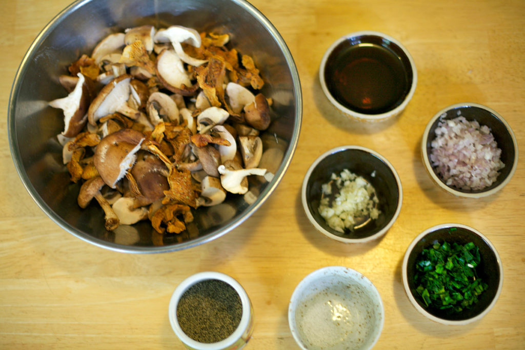 Mise en place for Garlicky Mushrooms